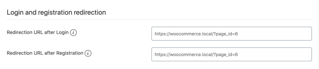 Gems for WooCommerce - Settings - Login and registration redirection